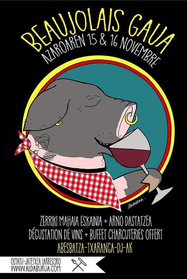 Soirée Beaujolais à Aldaburua Jeudi 15 Novembre